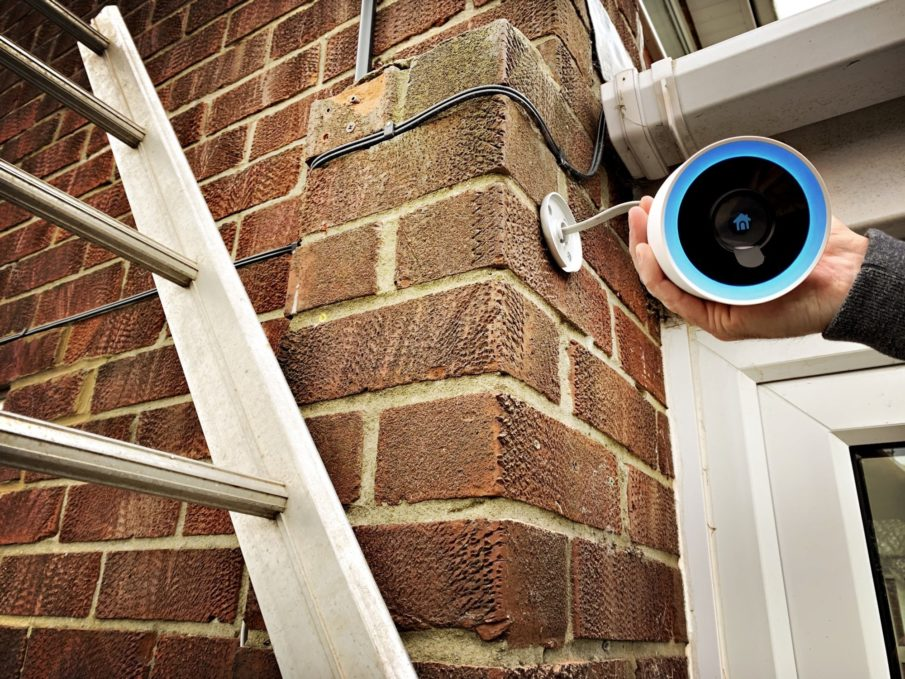 Installing the best smart home cameras on a brick wall